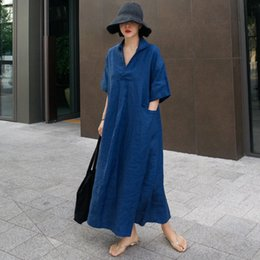 Wholesale linen dresses large for sale - Group buy New Summer Pullover Short Sleeve Cotton Linen Dress Women s Loose Large A line Pocket Fashion Casual Skirt