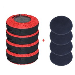 Wholesale 30in Tire Cover +4 Pcs Wheel Felts,Adjustable Waterproof Tire Storage Tote Bag Spare Tote Protection Covers Seasonal Tyre Storage Bag for Car
