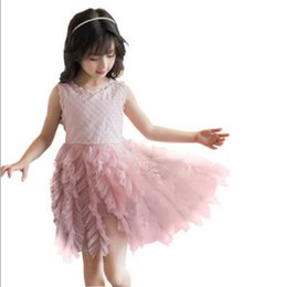 puffy baby girl dresses UK - Girl's Dresses Summer Puffy mesh Kids Children Clothes baby girl Clothing