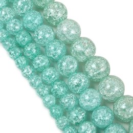 Wholesale 6 8 10mm Blue Cracked Crystal for Diy Bracelet Jewelry Making Quartz Round Beads Wholesale Perles 15'' strand 931 T2