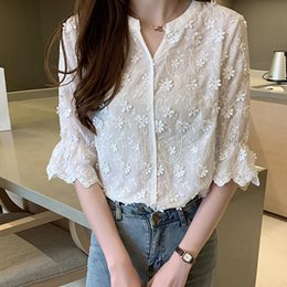 womens korean blouses Australia - Womens Shirts Flare Sleeve White Shirt Women Clothes Floral Embroidery V Neck Chiffon Blouse Summer Tops Korean Fashion Chemisier Femme