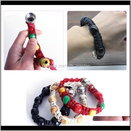 rasta accessories wholesale Canada - Pipes Accessories Household Sundries Home Garden Drop Delivery 2021 Portable Metal Bracelet Smoke Smoking Jamaica Rasta Pipe 3 Colors Gift Fo