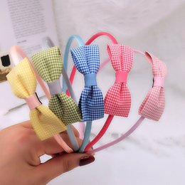 hair bows nets UK - Net Red Plaid Bow Hair Band children's accessories broken pressed pin fabric bow hair accessories6S2W