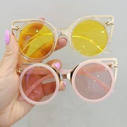 Vente en gros Mode enfants chat oreille lunettes de soleil UV 400 filles lunettes lunettes de soleil enfants cadre en métal rond de plage lunettes de vacances A7384