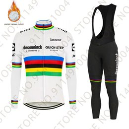Wholesale Quick Step World Cycling Jersey Set Julian Alaphilippe Winter Thermal Fleece Mens Maillot Cyclisme Ropa Ciclismo Racing Sets