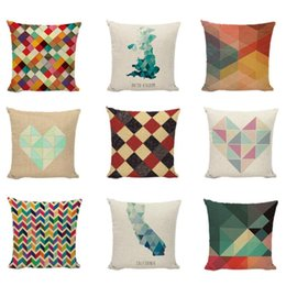 Discount colorful geometric pillows Colorful Geometric Throw Cushion Cover Modern Style Paint Trilateral Stitching Pillow Case Home Decor Sofa Bench Seat Pillowcase Cushion Dec