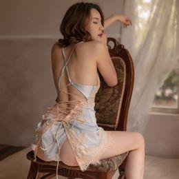 Toptan satış Seksi Gecelik Kadın Buz İpek Sling Ince Dantel Ev Hizmet Batı Tarzı Özel Pijama