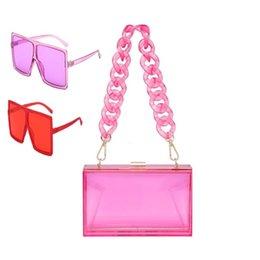 2021 Summer fashion candy colorful transparent clear women chain handbag acrylic chain clutch purse with sunglass set