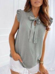 Опт Womens Womens лето в горошек T-футболка женские галстуки галстуки шеи топы блузка повседневная базовая тройник