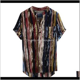 Wholesale strip shirts resale online - Mens Apparel Drop Delivery Summer Short Sleeve Retro Clothing Stand Collar Multicolor Top Men Loose Shirts Blouse Casual Strip Shirt Pwb