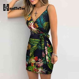 Wholesale tropical summer dresses for sale - Group buy Dresses Tropical Print V neck Wrap Casual Women Sleeveless Summer Holiday Mini