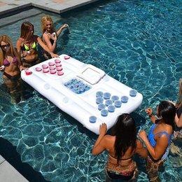 Надувная пивная таблица 28 чашек отверстие плавающее рядное водное лето холодное открытое плавание расслабиться развлечения ледяной слот плавает трубы на Распродаже