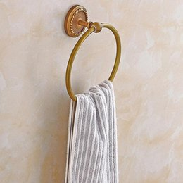 copper towel ring UK - Yfashion Stylish Firm Towel Ring Copper Rack Pendant For Bathroom Toilet Commodity Shelf Rings