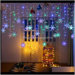 Discount snowflake lighted curtain Decorations Christmas Snowflake Led String Flashing Lights Curtain Outdoor Xmas Garland Holiday Party Connectable Fairy Light 201203 S Rajs1