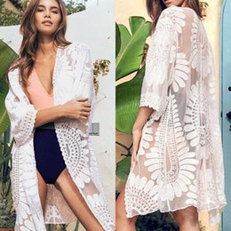Wholesale ladies wrap blouses for sale - Group buy Women s Blouses Shirts Women s Lace Cotton Beach Cardigan Bikini Cover Up Sexy Ladies Solid Color Long Blouse Wrap Beachwear JYHZ