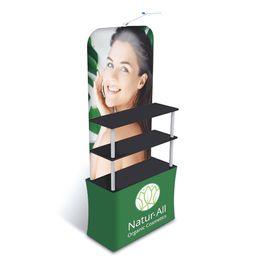 Toptan satış Ticaret Fuarı Reklam Ekran Promtion Sayacı Raf HDF Ile Üst-alt Kurulları Kalın Alüminyum Tüp Gerginlik Kumaş Baskılı Grafik Taşınabilir Taşıma Çantası
