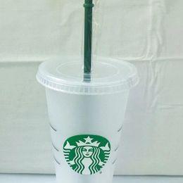 Großhandel Starbucks 24oz / 710ml Kunststoff-Tumbler wiederverwendbarer klarer trinkender flacher bodenschale säulenform deckel stroh tassen bardian 50 stücke dhl