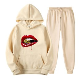 running hoodies for women UK - PROPCM Autumn Winter 2 Piece Set Women Hoodie Sexy Red Lips Print Casual Jogger Pants Tracksuit Street Style Outfits for Women Solid