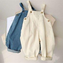 Vente en gros Baby Boy Solid Denim Hélauline Enfant Jean Bib Pantalon Combinaison Pour Enfants Vêtements Pour Enfants Combinaisons Autumn Girls Outfits 958 Y2