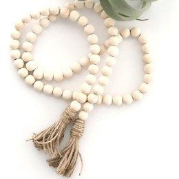 Ingrosso Catena naturale per perle in legno con nappa Ghirlanda Settentrionale Europa del Nord Asilo nido décor decorazione a mano in legno
