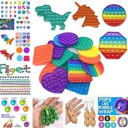 US Stock!!! Sensory Fidget Toys Set 150PCS LOT Push Pops Squeeze-a-Bean Pea Popper Key Ring Snake Puzzle Wacky Tracks Hang Grip Tik Tok Style Desktop Poo-its Finger Toy