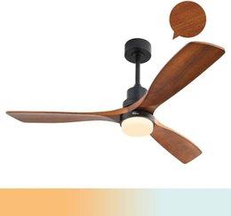 Опт США Склад Софют Деревянные потолочные вентиляторы для дерева с огнями, 3 деревянными вентиляторами вентилятора вентиляторы, бесшумный мотор, твердый орех и матовый черный KBS-5247