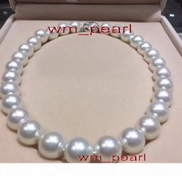"""17""""13-15mm REAL Natural south sea round white pearl necklace 14K"""