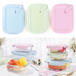 kitchen tool container UK - Extra Large Borosilicate Glass Storage Containers Microwave Oven Lunch Box Airtight Lid Container Kitchen Tools Dinnerware Sets