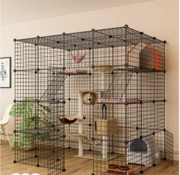 Wholesale Cat Carriers,Crates & Houses Luxury Super Gate Cage Wide Large Platform Home Villa Free Space Indoor House Multi-layer
