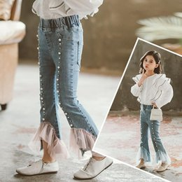 girls flared jeans UK - Girls Beading Jeans Spring Flare Pant For Boot Cut Mesh Bottoms Korean Denim Pants Girl Trousers Kids Clothes