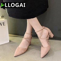 wedding dress rome UK - Women's Shoes Fashion High Heels Spring Rome Flock Pointed Sandals Sexy Female Toe Wedding Party Dress