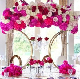 Discount holiday party centerpieces metal table Party Decoration centerpieces flower stands arrangement for wedding
