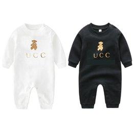 Primavera caída bebé niños niñas manga larga mamelas de algodón infantil oso de dibujos animados oso emisiones encantador niño onesies niños ropa en venta