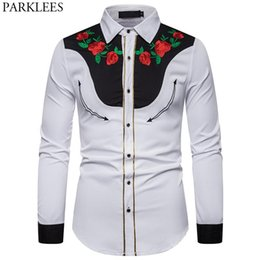 cowboys costumes UK - Men's Rose Flower Embroidery Western Shirt Mexican Man White Shirts Slim Fit Long Sleeve Party Festival Cowboy Costume Camisas Casual