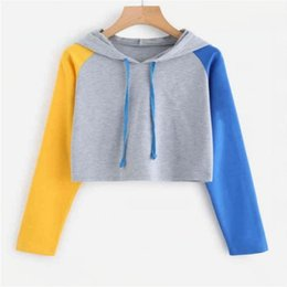 Discount cute spring blouses Pullover Women Color Block Crop Hoodie Kawaii Cute Sweatshirts Streetwear Spring Long Sleeve Hoody Shirts Blouse Women's Hoodies &