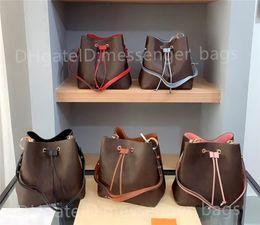Wholesale 2021 lady Shoulder Bags Handbags Classic Cross Body Clutch Women Fashion Bag Plain Leather Open Bucket Interior Slot Pocket Casual Drawstring Luxury Designer