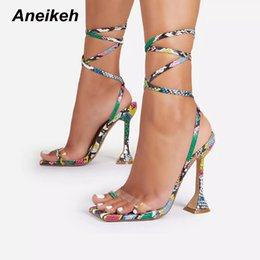 shoes python UK - Women's Shoes Cross-Tied Python Pattern PU Narrow Band Mixed Colors Thin High Heels Fashion Zapatos De Mujer Summer 210507