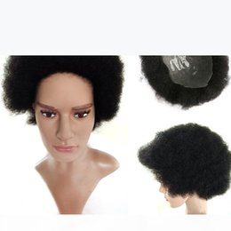 Wholesale Super Thin Based Hairpiece NewFashion Afro American Mens Hairstyle 100% Human Hair Handsome Attractive Short Curly Top Quality Full Hand Wig