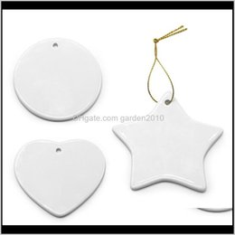 pendant blank heart 2021 - Pendants Blank White Sublimation Pendant Creative Ornaments Heat Transfer Printing Diy Ceramic Ornament Heart Round Christmas X6Fs Wg2Ot