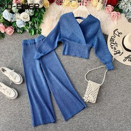 Wholesale v neck leg dress for sale - Group buy Sparkling Knitted Two Piece Women Set Sexy V Neck Open Back Pullover Sweater Batwing Sleeve Top High Waist Wide Leg Pants Dress