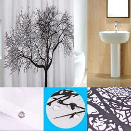 Black Tree Design Shower Curtains Home Bathroom Decor Polyester Shower Curtain Waterproof Fabric Bath Curtain with Hooks 180*180cm 616 R2 on Sale