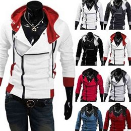 männer assassins creed jacke großhandel-Designerwholesale Stilvolle Mens Assassins Creed Desmond Miles Costume Hoodie Cosplay Coat Jacket