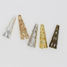 50pcs   lot 23 x7mm Alloy Caps Bead Hollow Out Flower Bugle Filigree Bead End Cap Cone Jewelry Making Components finder 1181 Q2 on Sale