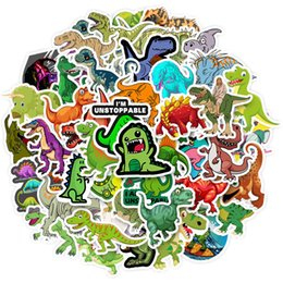 Ingrosso 50 Adesivi decorativi non ripetitivi Impermeabile Impermeabile Cute Dinosaur cartoon cartoon cartoon custodia Piccola personalizzazione della miscela di mistificazione