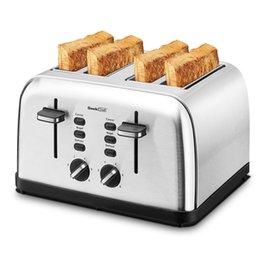 Tostapane 4 Slice Maker Geek Chef Slot in acciaio inox Ampia con pannelli a doppia controllo di Bagel / Debrost / Annulla funzione, vassoi a briciole rimovibili, in Offerta