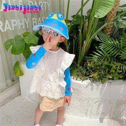 toddler boys sun hats UK - Summer Hat For Kids Boys UV Sun Shade Cap Girls Toddler Top Air Children'S Big Brim Visor Sleeve Suit 1-12 Old SPF 50+ Wide Hats