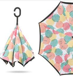 venda por atacado Guarda-chuva anti-guarda-chuva à prova de vento Dobrável de dois camada invertida guarda-chuva auto-reversão à prova de chuva à prova de chuva de gancho de C-tipo HWB6366