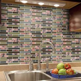 Wholesale tiling mosaics resale online - d Self Adhesive Wall Sticker Diy Mosaic Tile Pvc Waterproof Tiles Decals For Home Bathroom Kitchen Decor Wallpapers