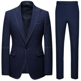 smart casual fashion men 2021 - Fashion Smart Casual Suit 2 Pieces Set Of Groom Man Wedding Single Buttons Blazer And Full Length Pants Men's Suits & Blazers