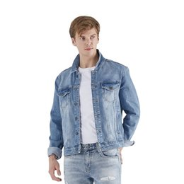 Wholesale boys slim denim jacket resale online - Jacket Casual Slim Style Custom Boy Men Clothes Stone Classic Stylish Jean Coat Denim Winter Men s Jackets